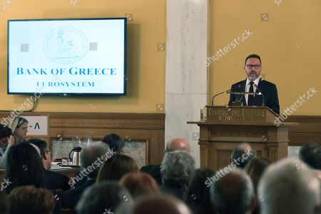 Bank of Greece Governor Yannis Stournaras gives a speech at the annual meeting of the bank's shareholders in Athens, on