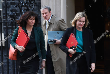 Amber Rudd, Claire Perry and Damian Hinds leave No.10 Downing Street after a 7 hour cabinet meeting