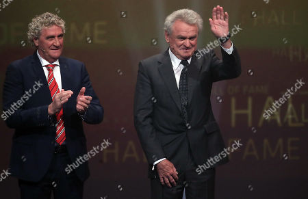 Stock Image of Belgian former soccer goalkeeper Jean-Marie Pfaff (L) honours former German soccer goalkeeper Sepp Maier as best German goalkeeper of the century during the opening gala of the 'Hall Of Fame' of German football in Dortmund, Germany, 01 April 2019.. The Hall Of Fame will be part of the permanent exhibition in the German Football Museum, where players and coaches of men's and women's soccer of German origin will be honored for their outstanding achievements in shaping German soccer from 1900 until today.