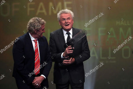 Stock Photo of Belgian former soccer goalkeeper Jean-Marie Pfaff (L) honours former German soccer goalkeeper Sepp Maier as best German goalkeeper of the century during the opening gala of the 'Hall Of Fame' of German football in Dortmund, Germany, 01 April 2019.. The Hall Of Fame will be part of the permanent exhibition in the German Football Museum, where players and coaches of men's and women's soccer of German origin will be honored for their outstanding achievements in shaping German soccer from 1900 until today.