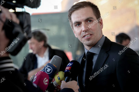 German former soccer player Philipp Lahm speaks to the media as he arrives for the opening gala of the 'Hall Of Fame' of German football in Dortmund, Germany, 01 April 2019. The Hall Of Fame will be part of the permanent exhibition in the German Football Museum, where players and coaches of men's and women's soccer of German origin will be honored for their outstanding achievements in shaping German soccer from 1900 until today.