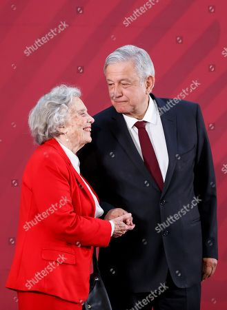 The President of Mexico Andres Manuel Lopez Obrador (R) and the writer Elena Poniatowska (L) participate, in a press conference, in the National Palace, in Mexico City, Mexico, 01 April 2019.