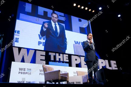 Stock Image of Presidential hopeful Julian Castro speaks at the We The People Summit, at Warner Theater in Washington, DC, USA, 01 April 2019. The summit has eight participants that have announced campaigns to be the 2020 Democratic nominee for US President.