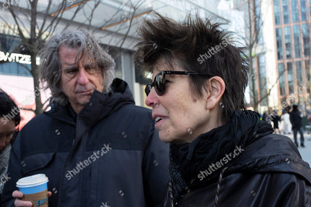 Stock Photo of Architects David Rockwell, left, and Elizabeth Diller discuss their work on The Shed before the dedication of the performing arts center, in New York. The Shed opens to the public on Friday
