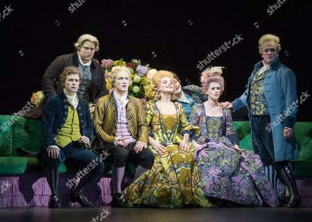Stock Picture of Jacquelyn Stucker as Alessandro, Alessandro Fisher as Fabio, James Laing as Demetrio, Claire Booth as Berenice, Patrick Terry as Demetrio,  Rachael Lloyd as Selene,  William Berger as Aristobolo,