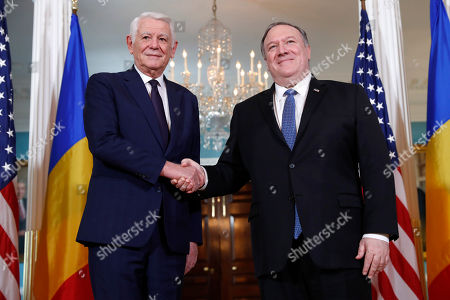 Mike Pompeo, Teodor Melescanu. Secretary of State Mike Pompeo, right, meets with Romanian Foreign Minister Teodor Melescanu at the State Department, in Washington