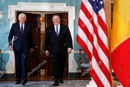 Mike Pompeo, Teodor Melescanu. Secretary of State Mike Pompeo, right, walks with Romanian Foreign Minister Teodor Melescanu at the State Department, in Washington