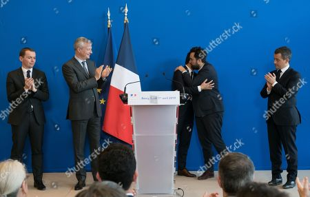 French Junior Minister for Public Administration Olivier Dussopt, French Economy Minister Bruno Le Maire, French Junior Economy Minister in Charge of Digita, Cedric O, Mounir Mahjoubi and French Public Accounts Minister Gerald Darmanin.