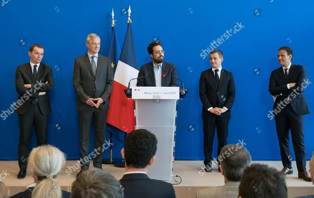 French Junior Minister for Public Administration Olivier Dussopt, French Economy Minister Bruno Le Maire, Mounir Mahjoubi, French Public Accounts Minister Gerald Darmanin and French Junior Economy Minister in Charge of Digita, Cedric O.