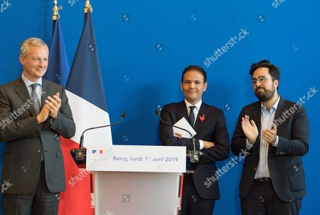 French Economy Minister Bruno Le Maire, French Junior Economy Minister in Charge of Digita, Cedric O and Mounir Mahjoubi.