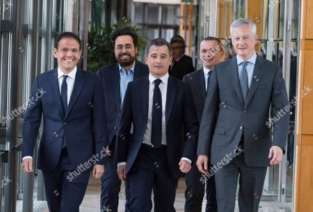 French Junior Economy Minister in Charge of Digita, Cedric O, Mounir Mahjoubi, French Public Accounts Minister Gerald Darmanin, French Junior Minister for Public Administration Olivier Dussopt and French Economy Minister Bruno Le Maire.