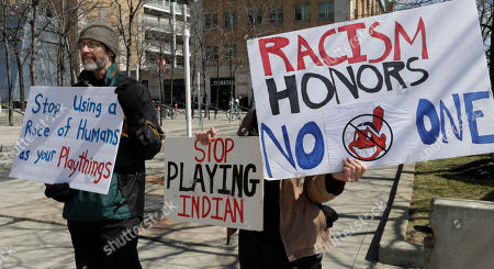 Editorial image of Wahoo Protest Indians Baseball, Cleveland, USA - 01 Apr 2019