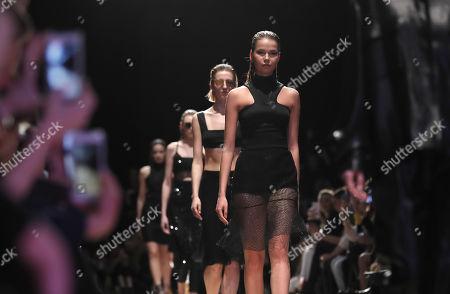 Bella Potemkina show Runway Russia Fashion Week Stock Photos