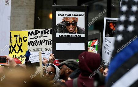 "Signs during a protest over Cook County State's Attorney Kim Foxx's office's decision to drop all charges against ""Empire"" actor Jussie Smollett, in Chicago"
