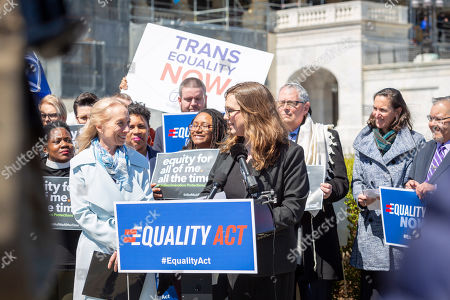 Sarah McBride, Mary Gay Scanlon. Sarah McBride, national press secretary for Human Rights Campaign, right, greets U.S. Representative Mary Gay Scanlon (D-PA), left, in Washington