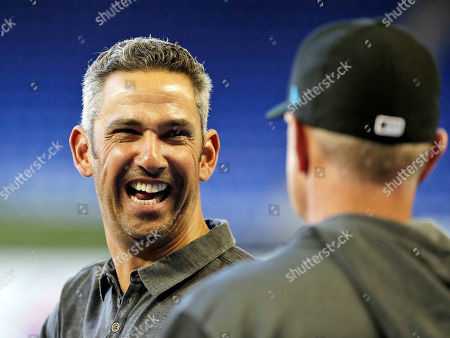 Former New York Yankees catcher and special advisor to baseball operations for the Marlins, Jorge Posada is seen before the start of New York Mets and Miami Marlins at Marlins Park in Miami, Florida, USA, 01 April 2019.