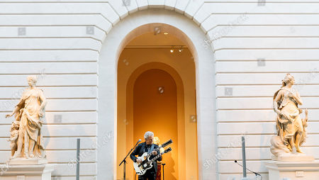 Don Felder, guitarist of The Eagles, plays a guitar with two necks during a press conference for the new exhibit 'Play It Loud: Instruments of Rock & Roll' at the Metropolitan Museum of Art in New York, New York, USA, 01 April 2019. The exhibit features over 130 musical instruments, including many electric guitars, from iconic rock and roll musicians dating from 1939 to 2017 including The Beatles, Chuck Berry, Jimmy Page, Elvis Presley, and Jimi Hendrix. It runs from 08 April 2019 until 01 October 2019,