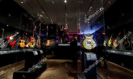 A view of instruments on display during a preview of the new exhibit 'Play It Loud: Instruments of Rock & Roll' at the Metropolitan Museum of Art in New York, New York, USA, 01 April 2019. The exhibit features over 130 musical instruments, including many electric guitars, from iconic rock and roll musicians dating from 1939 to 2017 including The Beatles, Chuck Berry, Jimmy Page, Elvis Presley, and Jimi Hendrix. It runs from 08 April 2019 until 01 October 2019.