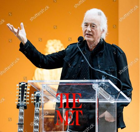 Guitarist Jimmy Page speaks during a press conference for the new exhibit 'Play It Loud: Instruments of Rock & Roll' at the Metropolitan Museum of Art in New York, New York, USA, 01 April 2019. The exhibit features over 130 musical instruments, including many electric guitars, from iconic rock and roll musicians dating from 1939 to 2017 including The Beatles, Chuck Berry, Jimmy Page, Elvis Presley, and Jimi Hendrix. It runs from 08 April 2019 until 01 October 2019,
