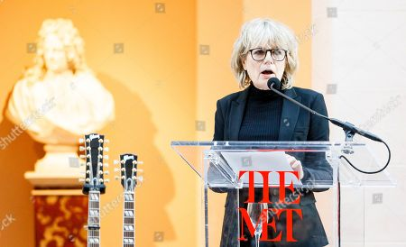 Guitarist Tina Weymouth speaks during a press conference for the new exhibit 'Play It Loud: Instruments of Rock & Roll' at the Metropolitan Museum of Art in New York, New York, USA, 01 April 2019. The exhibit features over 130 musical instruments, including many electric guitars, from iconic rock and roll musicians dating from 1939 to 2017 including The Beatles, Chuck Berry, Jimmy Page, Elvis Presley, and Jimi Hendrix. It runs from 08 April 2019 until 01 October 2019,