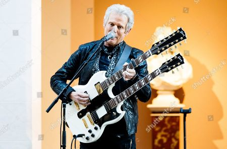 Don Felder, guitarist of The Eagles, plays a guitar with two necks during a press conference for the new exhibit 'Play It Loud: Instruments of Rock & Roll' at the Metropolitan Museum of Art in New York, New York, USA, 01 April 2019. The exhibit features over 130 musical instruments, including many electric guitars, from iconic rock and roll musicians dating from 1939 to 2017 including The Beatles, Chuck Berry, Jimmy Page, Elvis Presley, and Jimi Hendrix. It runs from 08 April 2019 until 01 October 2019.