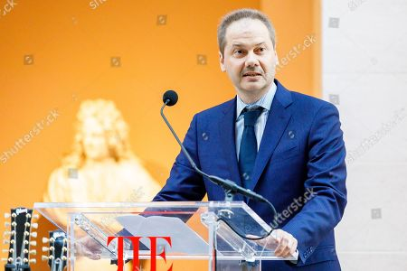 Max Hollein, the director of The Metropolitan Museum of Art, speaks during a press conference for the new exhibit 'Play It Loud: Instruments of Rock & Roll' at the Metropolitan Museum of Art in New York, New York, USA, 01 April 2019. The exhibit features over 130 musical instruments, including many electric guitars, from iconic rock and roll musicians dating from 1939 to 2017 including The Beatles, Chuck Berry, Jimmy Page, Elvis Presley, and Jimi Hendrix. It runs from 08 April 2019 until 01 October 2019,