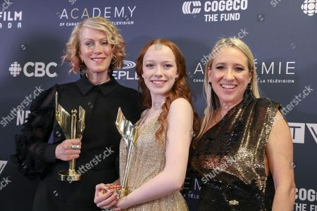 """Stock Photo of """"Anne"""" Producers Moira Walley-Beckett,, Miranda de Pencier with Amybeth McNulty, Winner of Actress in Continuing Leading Dramatic Role for """"Anne""""."""