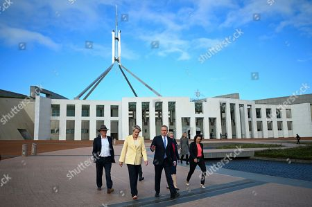 Leader of the Opposition Bill Shorten (C, right) and Deputy Opposition Leader Tanya Plibersek (C, left) walk to an Australian Education Union rally outside Parliament House in Canberra, Australia, 02 April 2019. The rally was held to rally support for school funding in the federal budget.