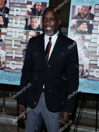 """Michael Kenneth Williams attends the premiere of """"The Public"""" at the New York Public Library, in New York"""