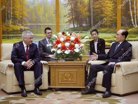 Stock Picture of Kim Yong Nam, right, president of the Presidium of the Supreme People's Assembly of North Korea, meets with Russian Interior Affairs Minister Vladimir Kolokoltsev, left, at the Mansudae Assembly Hall in Pyongyang, North Korea