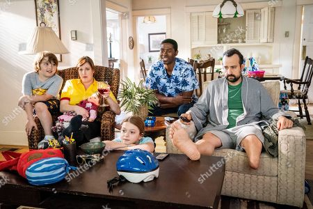Stock Photo of Cooper J. Friedman as Nathan, Allison Tolman as Lisa, Chloe Perrin as Maggie, Tongayi Chirisa as Kwame and Steve Zissis as Mike
