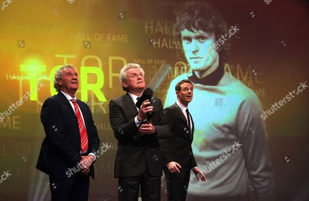 Stock Picture of Former German soccer goalkeeper Sepp Maier (C) is honoured by former Belgian goalkeeper Jean-Marie Pfaff (L) as best German goalkeeper of the century during the opening gala of the 'Hall Of Fame' of German football in Dortmund, Germany, 01 April 2019 (issued 02 April 2019). The Hall Of Fame will be part of the permanent exhibition in the German Football Museum, where players and coaches of men's and women's soccer of German origin will be honoured for their outstanding achievements in shaping German soccer from 1900 until today.