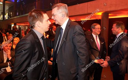 Former German soccer player Philipp Lahm (L) and German Football Association (DFB) president Reinhard Grindel (R) attend the opening gala of the 'Hall Of Fame' of German football in Dortmund, Germany, 01 April 2019 (issued 02 April 2019). The Hall Of Fame will be part of the permanent exhibition in the German Football Museum, where players and coaches of men's and women's soccer of German origin will be honoured for their outstanding achievements in shaping German soccer from 1900 until today.