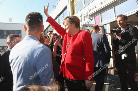German Chancellor Angela Merkel (CDU) arrives at the Thomas Mann high school, in Berlin, Germany, 02 April 2019. Merkel visited the school to discuss with youth topics related to the European Union, as part of the EU-Project Day initiative founded by the chancellor herself in 2007.