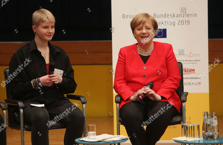 German Chancellor Angela Merkel (CDU) speaks to students as she visits the Thomas Mann high school, in Berlin, Germany, 02 April 2019. Merkel visited the school to discuss with youth topics related to the European Union, as part of the EU-Project Day initiative founded by the chancellor herself in 2007.