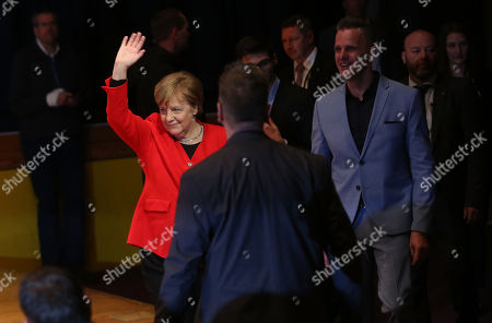 German Chancellor Angela Merkel (CDU) waves to students as she visits the Thomas Mann high school, in Berlin, Germany, 02 April 2019. Merkel visited the school to discuss with youth topics related to the European Union, as part of the EU-Project Day initiative founded by the chancellor herself in 2007.
