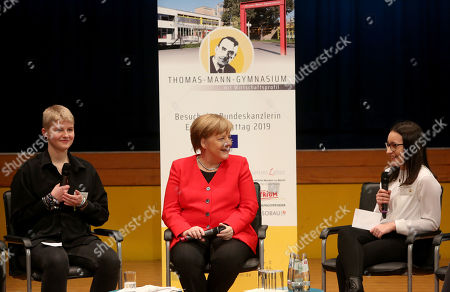 German Chancellor Angela Merkel (CDU, C) speaks to students as she visits the Thomas Mann high school, in Berlin, Germany, 02 April 2019. Merkel visited the school to discuss with youth topics related to the European Union, as part of the EU-Project Day initiative founded by the chancellor herself in 2007.