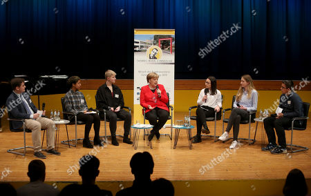 German Chancellor Angela Merkel (CDU) speaks to students as she visits the Thomas Mann school, in Berlin, Germany, 02 April 2019. Merkel visited the school to discuss with youth topics related to the European Union, as part of the EU-Project Day initiative founded by the chancellor herself in 2007.