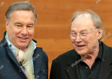 Klaus Maria Brandauer (R) and Intendant Nico Hofmann (L) attend a press conference at the Nibelungen Festival in Worms, Germany, 02 April 2019. This year's the festival is titled 'Ueberwaeltigung' (lit. overpowering) and will be held on an open-air stage in front of Worms Cathedral from 12 to 28 July 2019.
