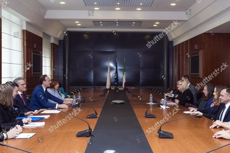 Stock Picture of Italian Undersecretary for Foreign Affairs Guglielmo Picchi (3-L) welcomes Beata Kempa (4-R), Chief of the Chancellery of the Prime Minister of Poland (KPRM), during their meeting at Farnesina Palace in Rome, Italy, 02 April 2019.
