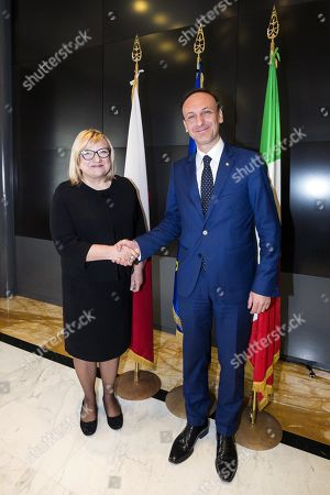 Italian Undersecretary for Foreign Affairs Guglielmo Picchi (R) welcomes Beata Kempa, Chief of the Chancellery of the Prime Minister of Poland (KPRM), prior to their meeting at Farnesina Palace in Rome, Italy, 02 April 2019.