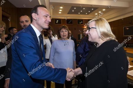 Italian Undersecretary for Foreign Affairs Guglielmo Picchi (L) welcomes Beata Kempa, Chief of the Chancellery of the Prime Minister of Poland (KPRM), prior to their meeting at Farnesina Palace in Rome, Italy, 02 April 2019.