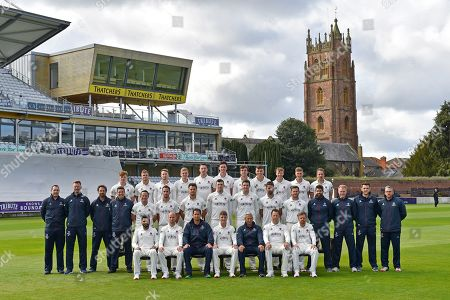 Somerset players (Back row) Dom Bess, Tim Rouse, Eddie Byrome, Ollie Sale, Paul van Meekeren, Nathan Gilchrist, Ben Green, Tom Banton, George Bartlet, Tom Lammonby, Josh Davey, (Middle row) Gary Metcalfe, James Always, Greg Kennis, Steve Snell, Roelof van der Merwe, Lewis Gregory, Jack Brooks, Craig Overton, Jamie Overton, Tim Groenewald, Steve Davies, Jamie Thorpe, Joel Tratt, Andrew Griffiths, Paul Tweddle, (Front row) Azhar Ali, Jack Leach, Jason Kerr, Tom Abell, Andy Hurry, Marcus Trescothick and James Hildreth pose for their team photo in their Specsavers County Championship kit during the 2019 media day at Somerset County Cricket Club at the Cooper Associates County Ground, Taunton