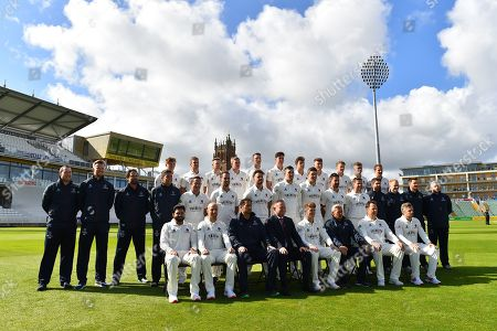 Somerset players (Back row) Dom Bess, Tim Rouse, Eddie Byrome, Ollie Sale, Paul van Meekeren, Nathan Gilchrist, Ben Green, Tom Banton, George Bartlet, Tom Lammonby, Josh Davey, (Middle row) Gary Metcalfe, James Always, Greg Kennis, Steve Snell, Roelof van der Merwe, Lewis Gregory, Jack Brooks, Craig Overton, Jamie Overton, Tim Groenewald, Steve Davies, Jamie Thorpe, Joel Tratt, Andrew Griffiths, Paul Tweddle, (Front row) Azhar Ali, Jack Leach, Jason Kerr, Andrew Cornish, Tom Abell, Andy Hurry, Marcus Trescothick and James Hildreth pose for their team photo in their Specsavers County Championship kit during the 2019 media day at Somerset County Cricket Club at the Cooper Associates County Ground, Taunton