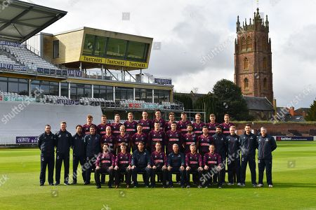 Somerset players (Back row) Dom Bess, Tim Rouse, Eddie Byrome, Ollie Sale, Paul van Meekeren, Nathan Gilchrist, Ben Green, Tom Banton, George Bartlet, Tom Lammonby, Josh Davey, (Middle row) Gary Metcalfe, James Always, Greg Kennis, Steve Snell, Jack Leach, Max Waller, Jack Brooks, Craig Overton, Jamie Overton, Tim Groenewald, Steve Davies, Jamie Thorpe, Joel Tratt, Andrew Griffiths, Paul Tweddle, (Front row) Peter Trego, Tom Abell, Jason Kerr, Lewis Gregory, Andy Hurry, James Hildreth and Roelof van der Merwe pose for their team photo in their Vitality Blast kit during the 2019 media day at Somerset County Cricket Club at the Cooper Associates County Ground, Taunton