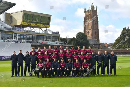 Stock Picture of (Caption correction) Somerset players (Back row) Dom Bess, Tim Rouse, Eddie Byrome, Ollie Sale, Paul van Meekeren, Nathan Gilchrist, Ben Green, Tom Banton, George Bartlet, Tom Lammonby, Josh Davey, (Middle row) Gary Metcalfe, James Always, Greg Kennis, Steve Snell, Jack Leach, Max Waller, Jack Brooks, Craig Overton, Jamie Overton, Tim Groenewald, Steve Davies, Azhar Ali, Jamie Thorpe, Joel Tratt, Andrew Griffiths, Paul Tweddle, (Front row) Peter Trego, Lewis Gregory, Jason Kerr, Tom Abell, Andy Hurry, James Hildreth and Roelof van der Merwe pose for their team photo in their Royal London One-Day Cup kit during the 2019 media day at Somerset County Cricket Club at the Cooper Associates County Ground, Taunton