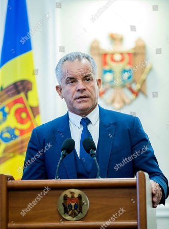 The head of Democratic Party Vladimir Plahotniuc speaks during a press-conference after meeting with the President of Moldova Igor Dodon, in the State Residence in Chisinau, Moldova, 02 April 2019. The president invited the leaders of Parliament's fractions to discuss about scenarios of exit from political blockage. Four parties had won in Moldova's parliamentary elections on 24 February 2019, but no one get majority, and no government is formed yet on a coalition.