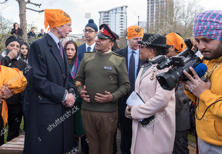 Duke of Kent, unveils the Bristol Sikh War Memorial and Remembrance Garden at the official opening in Bristol's Castle Park, to honour an estimated 83,000 Sikh soldiers who lost their lives in the First and Second World Wars, and more than 100,000 who were seriously wounded. The garden is close to the ruins of St Peter's Church and has been organised by the Bristol Sikh War Memorial Committee to be a peaceful way to remember the Sikh lives lost during the two conflicts. The idea was formed four years ago when Dilawer Singh Potiwal, the project leader of the committee, was attending a commemorative event with long-serving former Labour councillor Ron Stone, who died in 2015, and they had an idea that the Bristol Sikh community do something for their ancestors. All except the architects involved with the war memorial did so as volunteers.