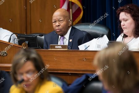 US House Oversight and Reform Committee Chairman Elijah Cummings (C) oversees the committee's markup on a resolution 'Authorizing Issuance of Subpoena Related to Security Clearances; and a resolution Authorizing Issuance of Subpoenas Related to the 2020 Census', on Capitol Hill in Washington, DC, USA, 02 April 2019. Chairman Cummings offered a resolution issuing subpoenas to Justice Department officials and Commerce Secretary Wilbur Ross in connection to the 2020 Census. The Chairman also offered a resolution to subpoena former White House Personnel Security Director Carl Kline to testify in connection with the Committee's investigation into the security clearance process at the White House.