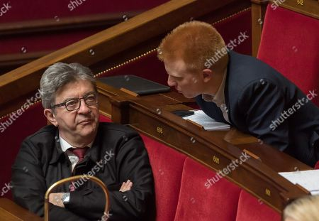 Stock Photo of Jean-Luc Melenchon and Adrien Quatennens during the weekly session of questions to the government at the National Assembly.